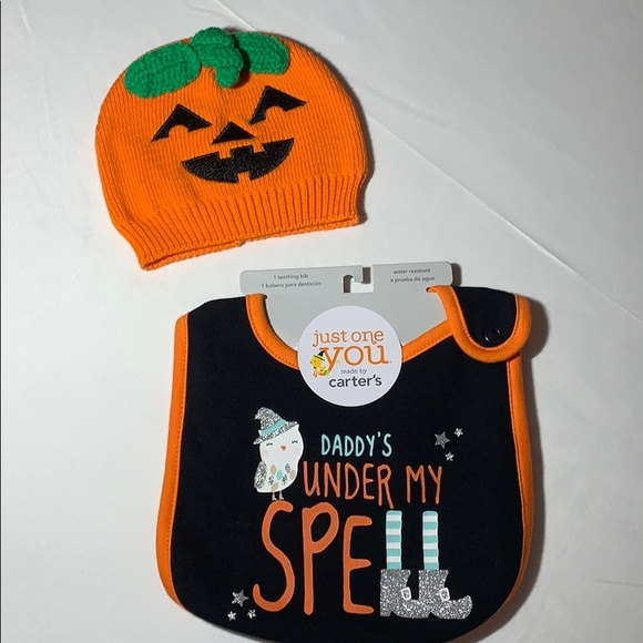 Baby's Halloween Hat and Bib Set